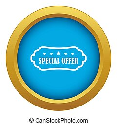 Special offer label icon blue isolated