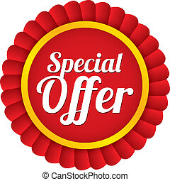 Special offer label. Red sale sticker. Price tag.