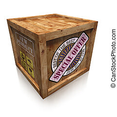 special offer on wooden box crate on white background. ...