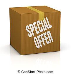 one card box with the label: special offer (3d render)
