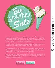 Special Offer Online, Spring Sale Flowers Vector