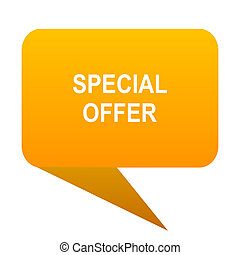 special offer orange bulb web icon isolated.