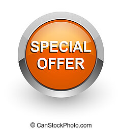 special offer orange glossy web icon