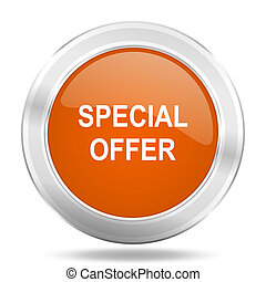 special offer orange icon, metallic design internet button, web and mobile app illustration