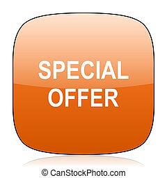 special offer orange square web design glossy icon
