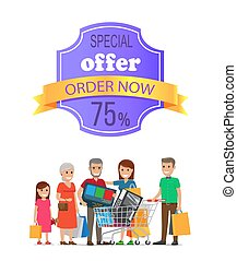 Special Offer Order Now 75 Promo Label on Poster