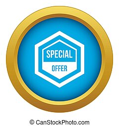 Special offer pentagon icon blue isolated