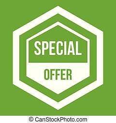Special offer pentagon icon green