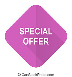 special offer pink flat icon