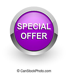 special offer pink glossy web icon