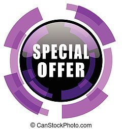 Special offer pink violet modern design vector web and smartphone icon. Round button in eps 10 isolated on white background.