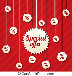 Special offer poster with percent discount (vector). Abstract sale background. Shopping modern icons.