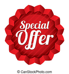 Special offer price tag. Red round star sticker.