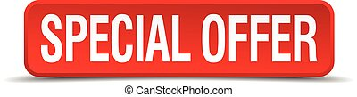 Special offer red 3d square button isolated on white