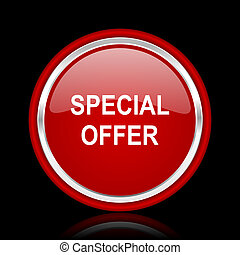 special offer red glossy web icon