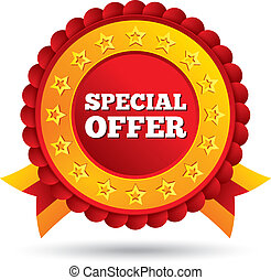 Special offer red label with stars and ribbons - Vector ...