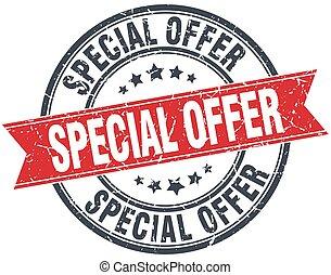 special offer red round grunge vintage ribbon stamp