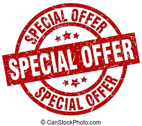 special offer round red grunge stamp