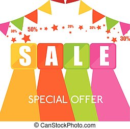 special offer sale cubes color garlands star confetti