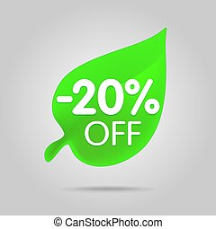 Special offer sale green tag isolated vector illustration.