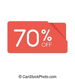 Special offer sale red rectangle origami tag. Discount 70 percent offer price label, symbol for advertising campaign in retail, sale promo marketing, Isolated vector illustration