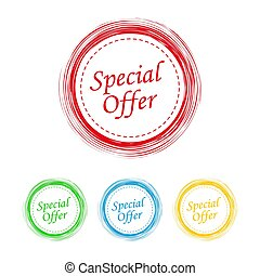 Special offer, set of a grunge circles. Vector illustration.