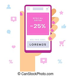 Special offer sign on smart phone. Female hand holding smartphone with discount and sale notification.