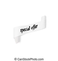 Special offer sign, paper banner, vector ribbon with shadow isolated on white