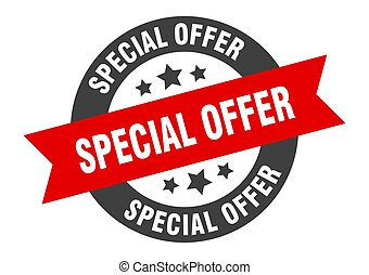 special offer sign. special offer black-red round ribbon sticker