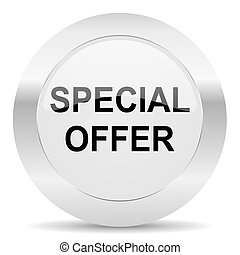 special offer silver glossy web icon