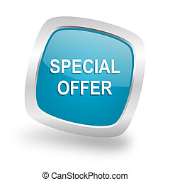 special offer square blue glossy chrome silver metallic web icon
