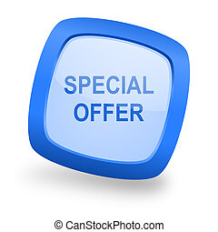 special offer square glossy blue web design icon