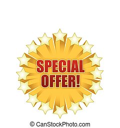 Stars special offer graphic isolated over a white background.