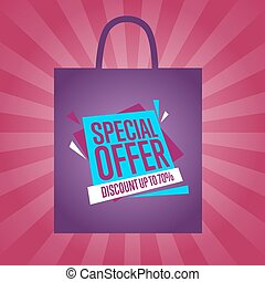 Special offer sticker on package silhouette
