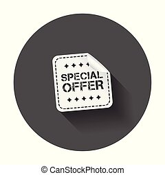 Special offer sticker. Vector illustration with long shadow.