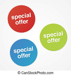 Modern special offer stickers with drop shadow.