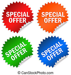 Special offer stickers set