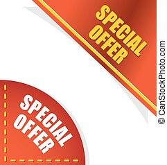 Special offer. Template for your design. Angle red and gold...