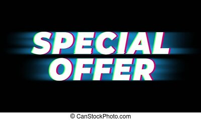 Special Offer Text Vintage Glitch Effect Promotion . -...