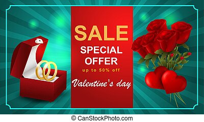 Special offer Valentines day discount up to fifty percent blue banner bouquet of red roses two hearts jewelry box with wedding rings