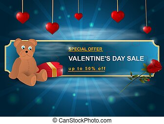 Special offer, Valentines day, up to 50% off, blue banner with green with bear hearts gift box and rose flower