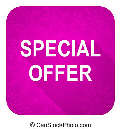 special offer violet flat icon, christmas button