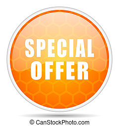 Special offer web icon. Round orange glossy internet button for webdesign.