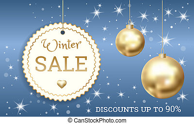 Special offer winter sale concept banner, realistic style