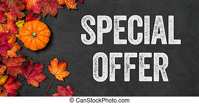 Special offer written on a blackboard