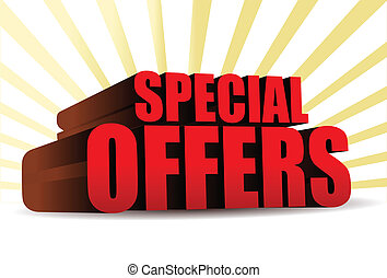 special offers 3d illustration design over yellow rays of light