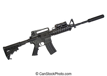 special operation carbine with silencer on white background