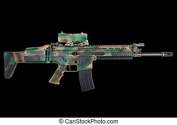 Special Operations Forces Combat Assault Rifle on black background