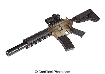 Special Operations rifle with gunsight isolated on a white background