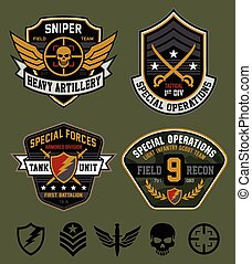 Military-inspired military patch set
